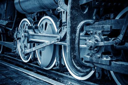 cam gear: Grunge old steam locomotive wheel and rods