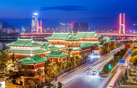 poetic: nanchang tengwang pavilion at night ,is one of chinese famous ancient building