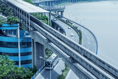city building: China Chongqing elevated light rail, modern city traffic perspective.