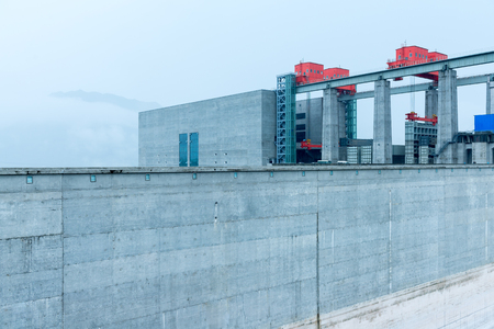 yichang: China Yangtze River Three Gorges Dam in the rain.