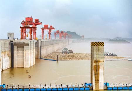 nautical structure: China Yangtze River Three Gorges Dam in the rain.