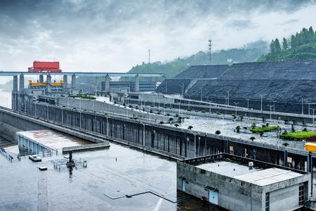 lift gate: China Yangtze River Three Gorges Dam in the rain.