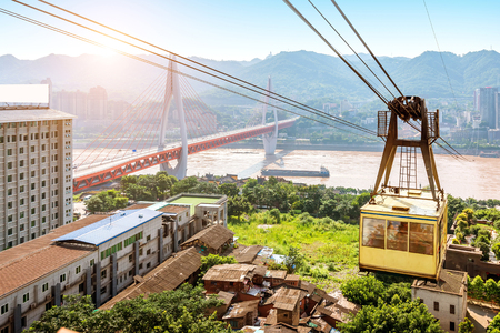 View from cableway over Yangtze river in Chongqing city (Chongqing, China)