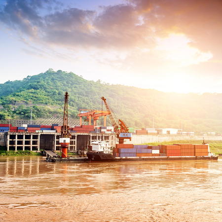 China Yangtze River Three Gorges, container terminals and barges. Stock Photo