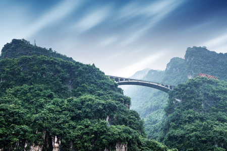 three gorges: Bridge on the Yangtze River, Three Gorges, Chongqing, China Stock Photo