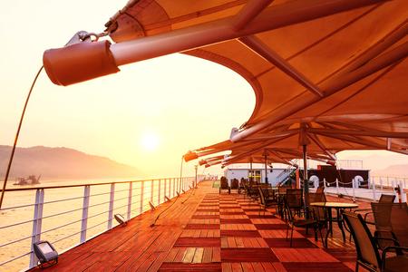 ship deck: Cruise ship deck, morning sun shines on the floor
