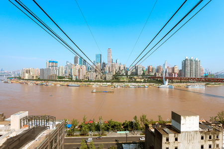 cableway: View from cableway over Yangtze river in Chongqing city (Chongqing, China)