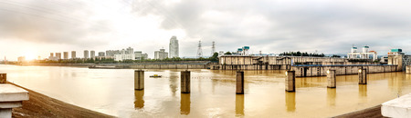 lift lock: The famous Gezhouba large water conservancy in Chinas Yangtze River(Panorama)