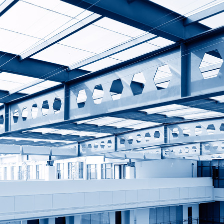 glass ceiling: Structural glass ceiling,Abstract modern architecture with extensive glazing. Stock Photo