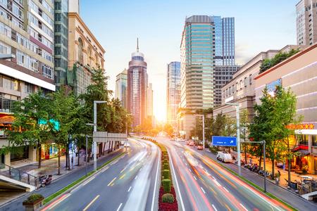 청두, 중국, 밤에 교통 체증. 스톡 콘텐츠 - 63584467