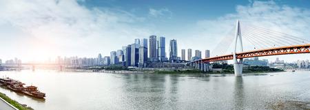近代的な大都市スカイライン、中国・重慶、重慶のパノラマ。 写真素材