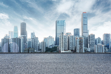 China Chongqing city skyline, in front of the asphalt road.