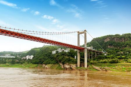 Yangtze River town of modern bridge, Chongqing, China. Stock Photo