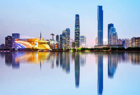 Modern urban night view, Pearl River New City, Guangzhou, China