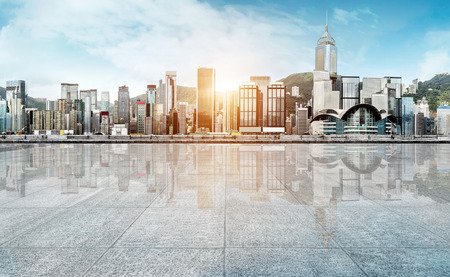 empty marble floor with cityscape and skyline in cloud sky