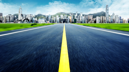 exaggerated: Expressway leading to the modern city, urban fantasy landscape, exaggerated expression.