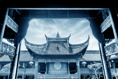 legends: Ancient temple in honor of ancestors(King Yu temple -a famous tribal leader on Chinese legends) -Chongqing, China.