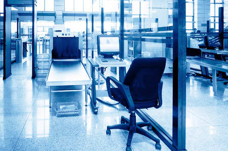 safety check: Airport security check with metal detector X ray
