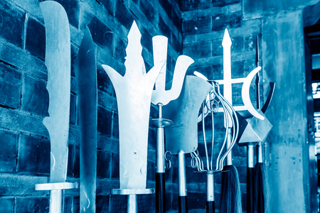 weapons: Ancient Chinese weapons, blue tones.