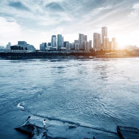 Chongqing city skyline and the Yangtze River Stock Photo