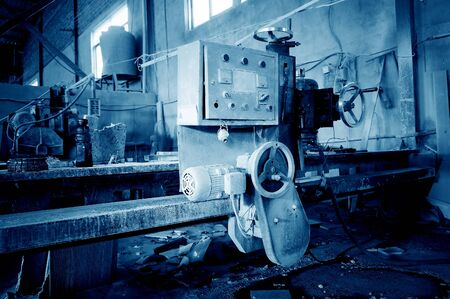 machinery machine: Stone machinery and equipment, marble cutting machine. Stock Photo