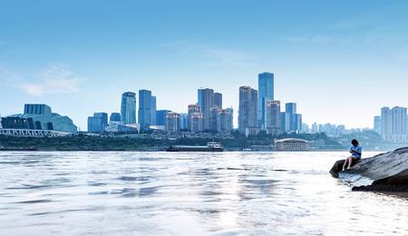 Chongqing, China downtown city skyline over the Yangtze River. Stock Photo