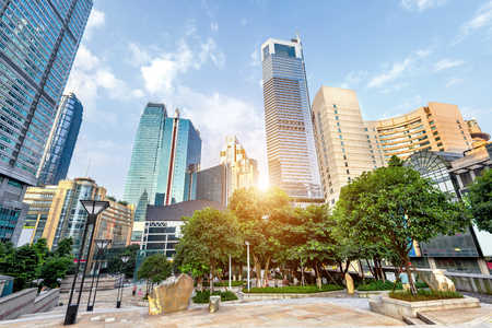 empty, modern square and skyscrapers in modern city
