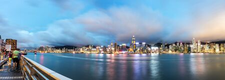 ifc: Hong Kong, China Victoria Harbor Night, City Skyline.