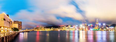 ifc: Victoria Harbor night view, Hong Kong, China.