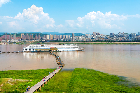 three gorges: Cruise ships docked in the Yangtze River Three Gorges, Chongqing, China.