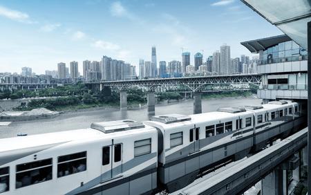 light rail moving on railway in chongqing