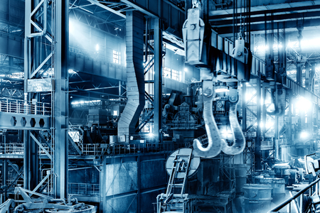 steelworks: Large steel mill production workshop, Shanghai, China.
