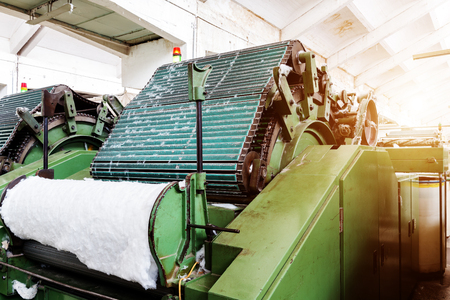 carding: Features of carding machine in textile mill Stock Photo