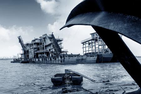 dredging: China Yangtze River Dredging Boat, Blue Tone Chart.