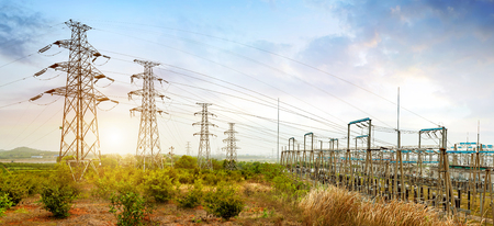power cables: High voltage power substation, modern power facility.