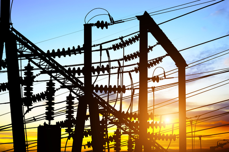 Substation equipment and lines and pylons Stock Photo