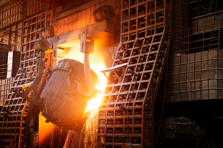 Large steel mill production workshop, Shanghai, China.