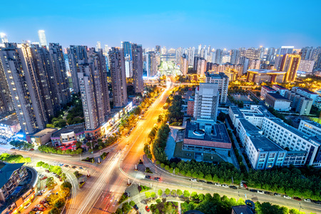 highroad: Aerial view of the city night, China Nanchang. Stock Photo