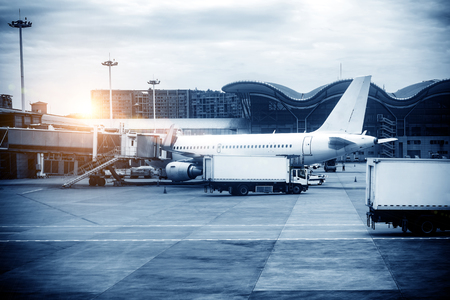 runways: The plane stops at the international airport, Shanghai, China. Editorial