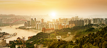 riverbank: Chongqing, China downtown city skyline over the Yangtze River. Stock Photo