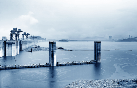 The huge Three Gorges Dam on Chinas Yangtze River