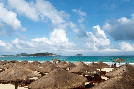 Beach umbrellas and chairs, China Hainan Island