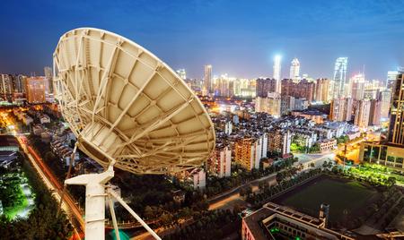 City night view and dish antenna, Shanghai, china. Stock Photo