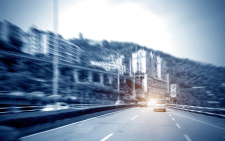 Metropolitan expressway, motion blur of the screen, Chongqing, China.