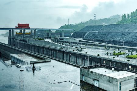 China Yangtze River Three Gorges Dam in the rain.