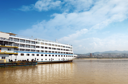 Cruise ships docked in the Yangtze River Three Gorges, Chongqing, China.