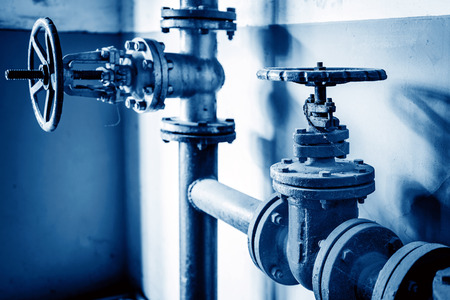 Corrosion of the valve in the factory Stock Photo