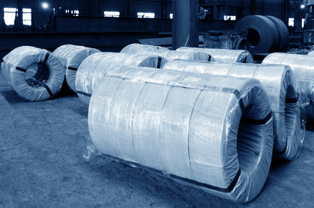 Steel structure of the factory raw materials, well-packed steel. Stock Photo