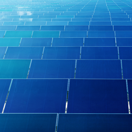 electric grid: A large number of photovoltaic power generation panels, green energy base.