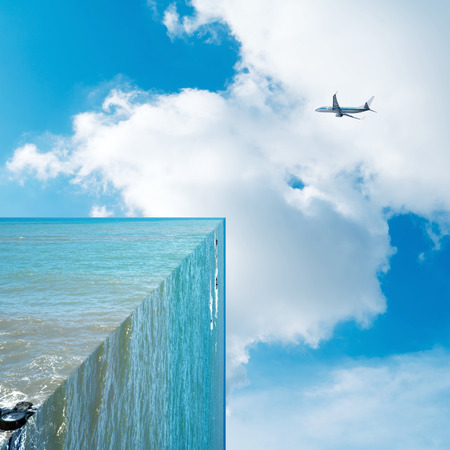 90 degree angle of the sea and the sky on the plane, three-dimensional fantasy landscape, exaggerated creativity. Editorial